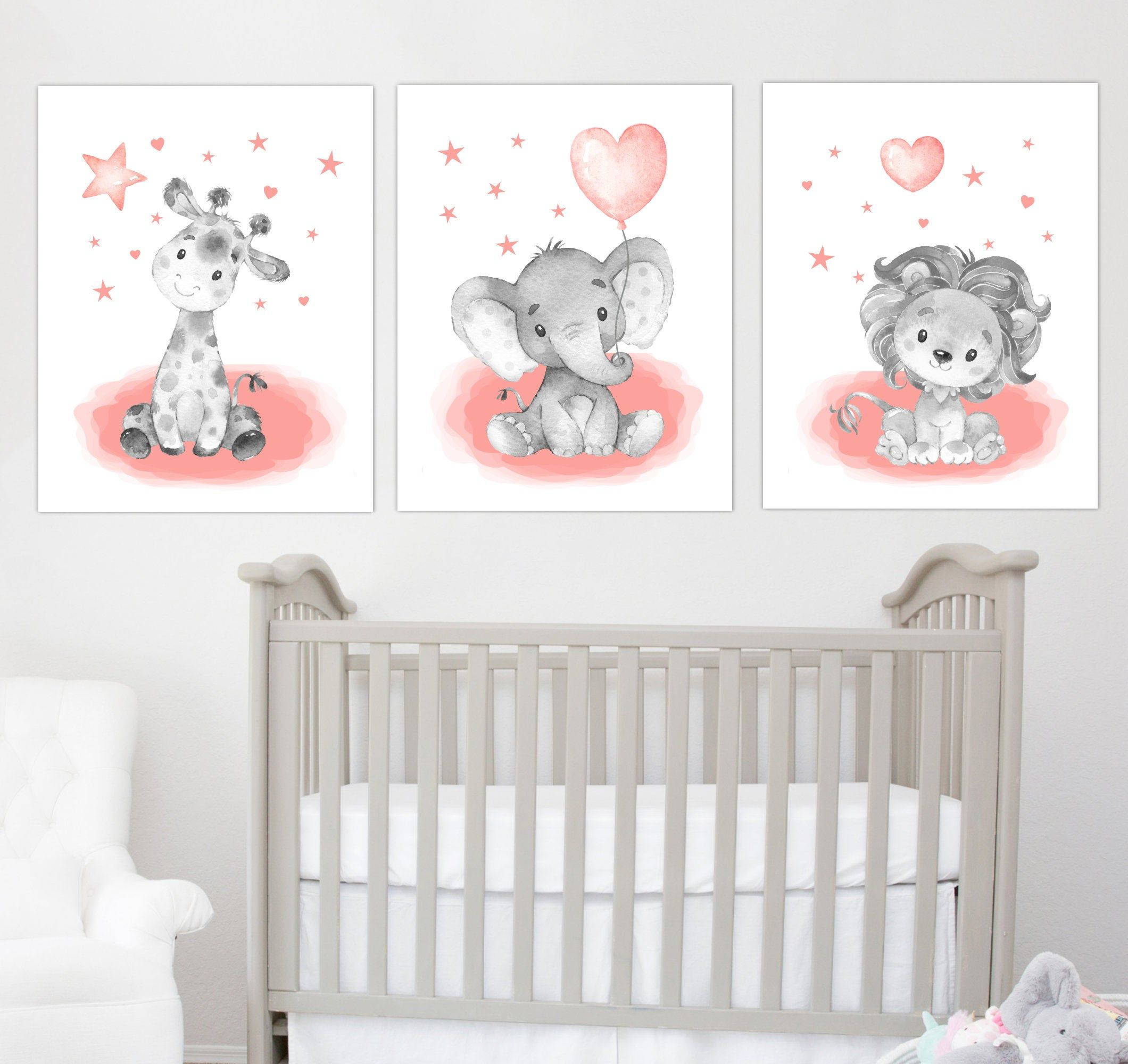 Baby Girl Nursery Decor Elephant Nursery Wall Art Safari Etsy Nursery Decor Canvas Baby Wall Art Baby Girl Nursery Wall Art