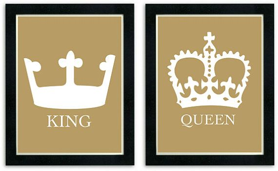 King And Queen Art Prints His And Her Crowns Modern Wall Decor
