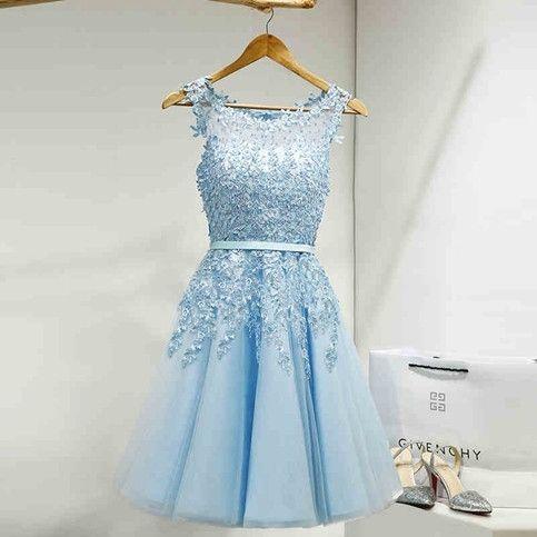 Abendkleider - Kurz Blau Spitze Tüll Cocktailkleid ...