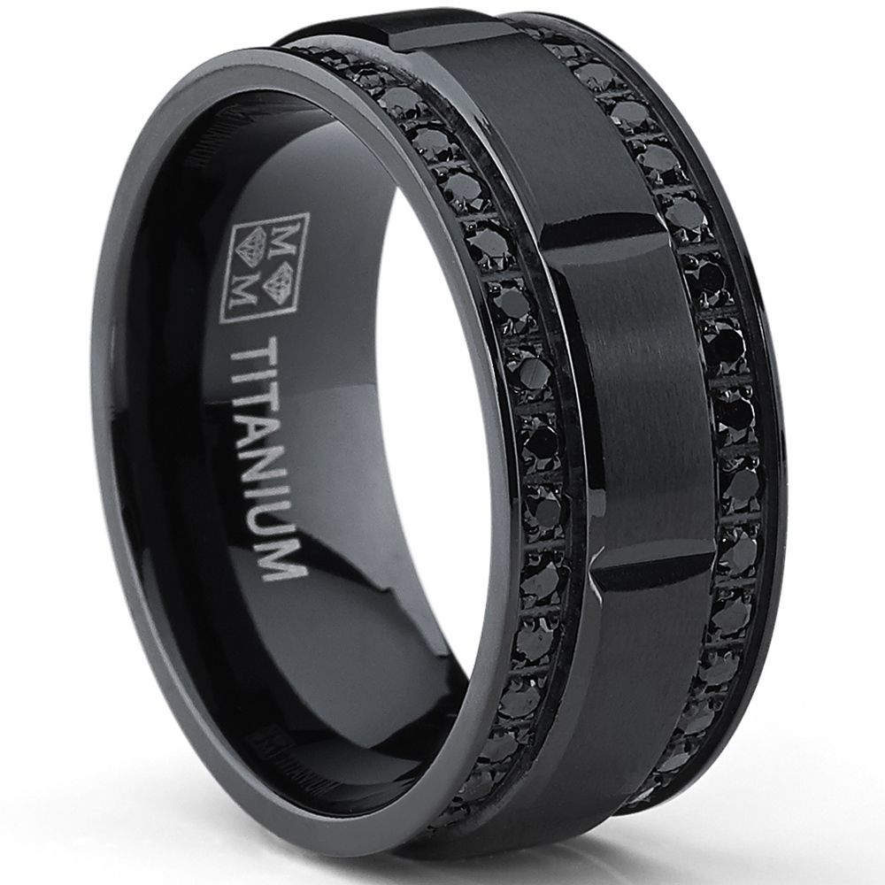 Oliveti Men's Blackplated Titanium Black Cubic Zirconia