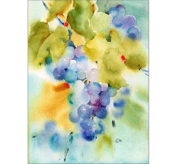Raisins Peinture Aquarelle Originale 9 X 12 Pouces Comment