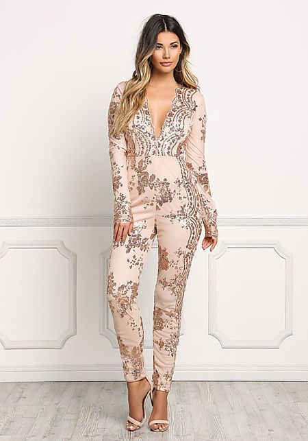 8e1134aa6921 Rose Gold Plunge Sequin Sheer Jumpsuit