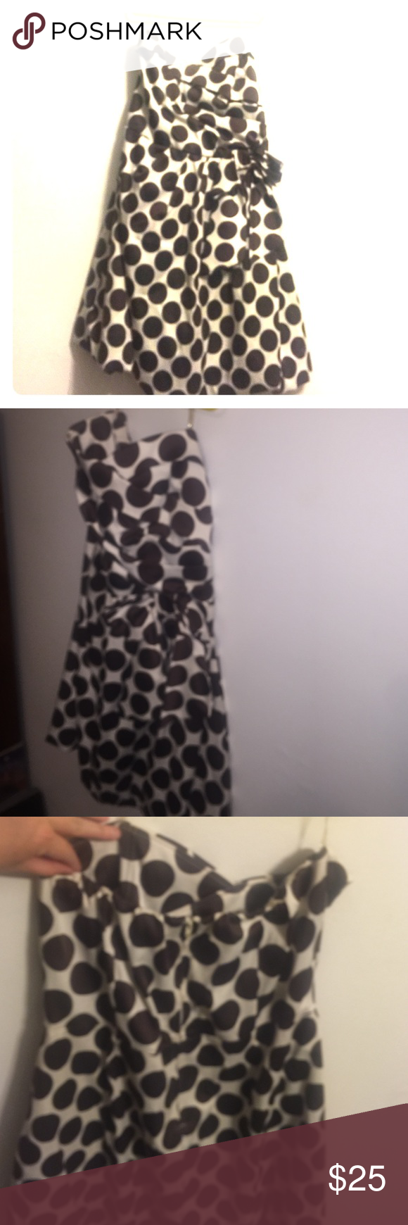 Polka Dot cocktail dress White with brown dots and now on side Dresses Strapless