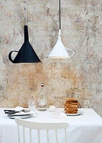 Christine Bauer via Kickcan & Conkers ..old vintage funnels reposed lighting