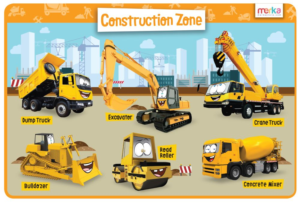 Teach Your Kids About The Construction Site Machines With This Colorful Designer Educational Placemats Construction Construction Unit Kids Education