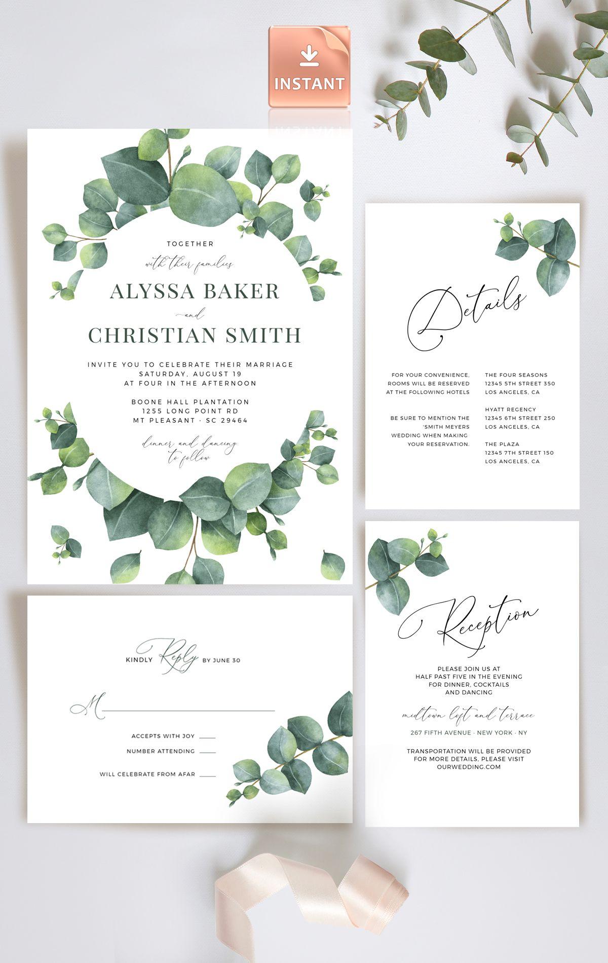 Pale Green Eucalyptus Wedding Invitation Modern Invite  Etsy in
