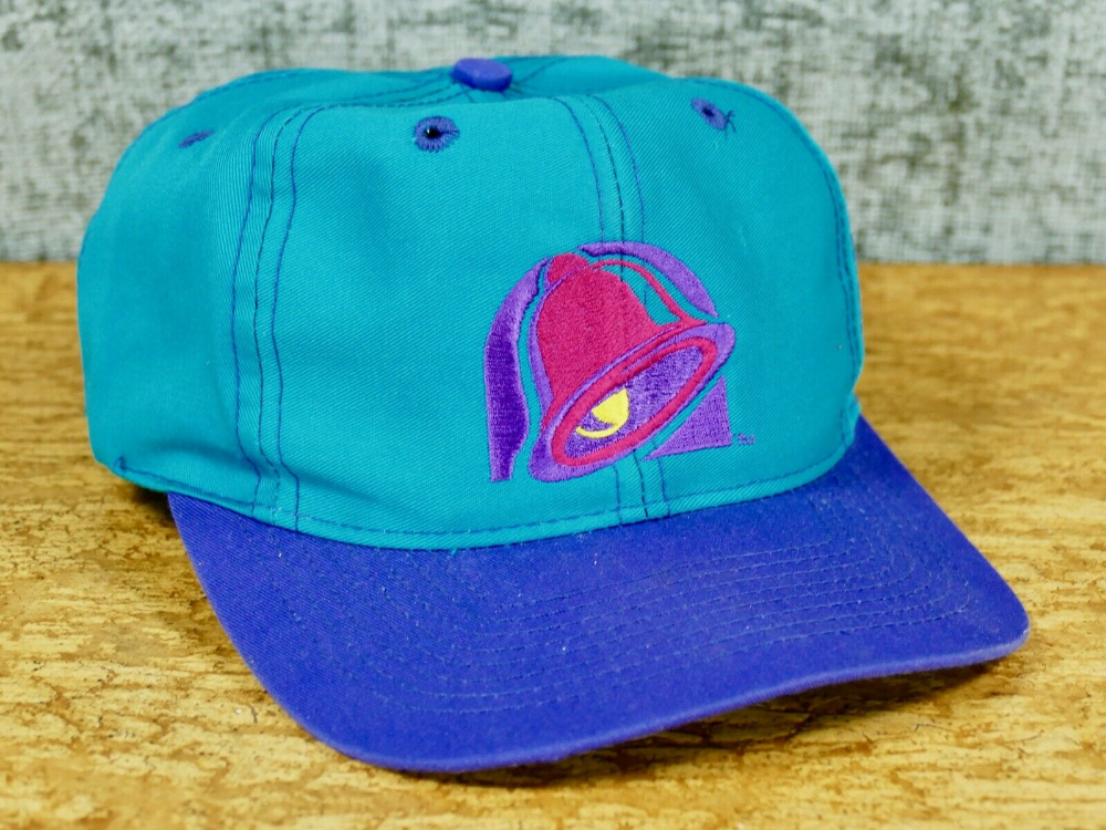 Vintage Taco Bell Snapback Hat 90s Teal Purple Barco 3926 Logo Employee Ebay Snapback Hats Hats Teal