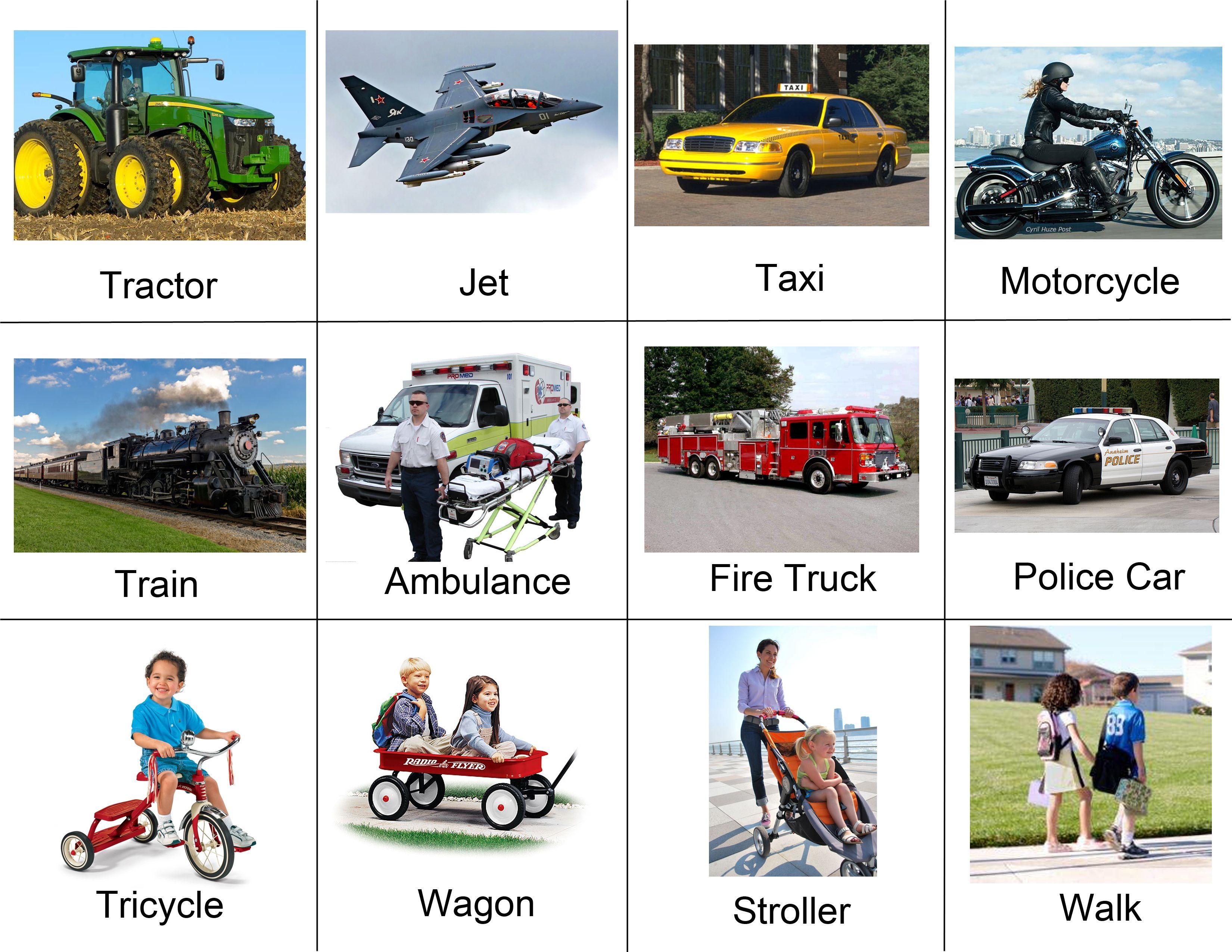 Toddler Transportation Visual Vocabulary Part 2 Printable