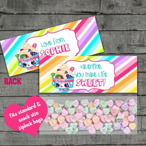 Shopkins Valentines Bag Toppers School by PartyPrintableInvite – Creative Valentine Cards for School