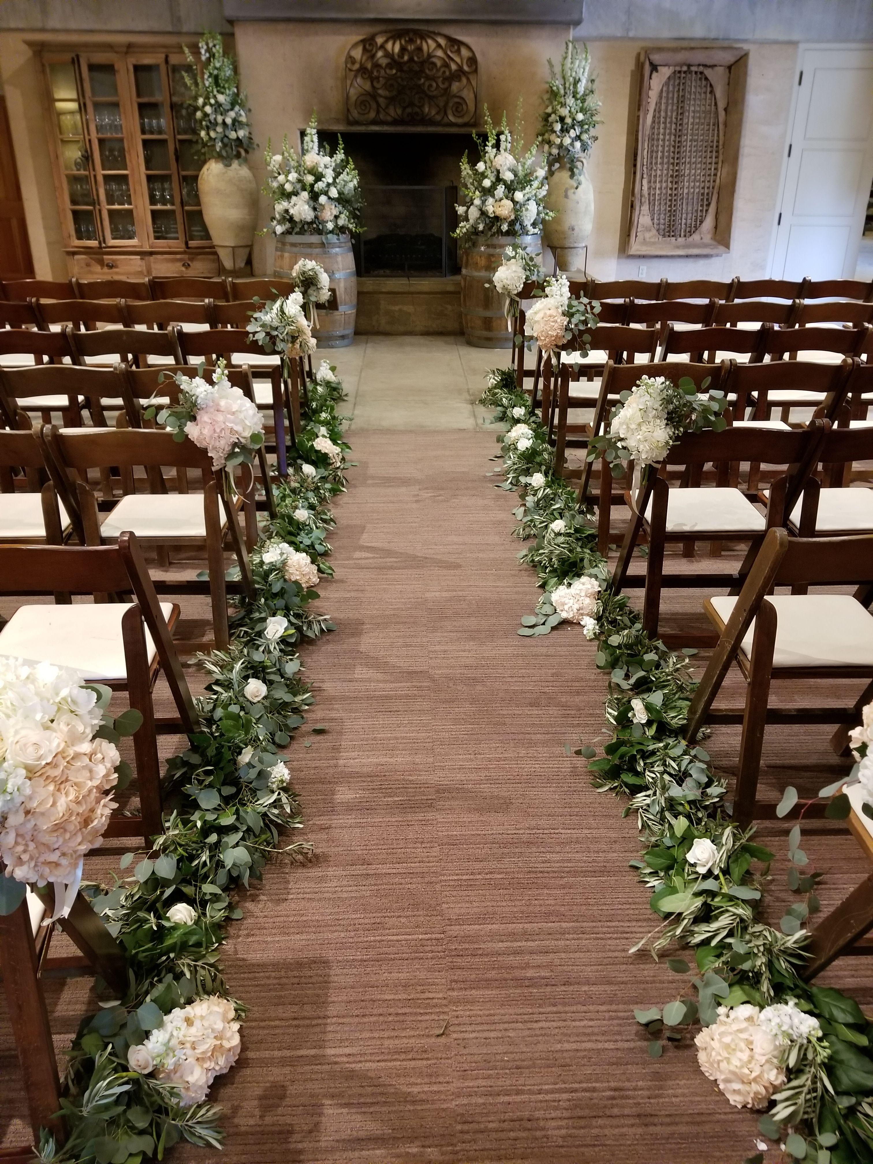 Sonoma Wedding Ramekins Indoor Wedding Aisle Floral Featuring Eucalyptus Garland Wedding Aisle Decorations Church Wedding Flowers Church Wedding Decorations