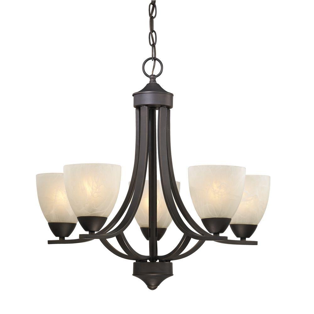 5 Light Chandelier With Alabaster Glass In Bronze 222 78