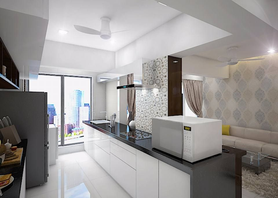 3D Views of 2 Bhk Flat, Design by WDF space design ...