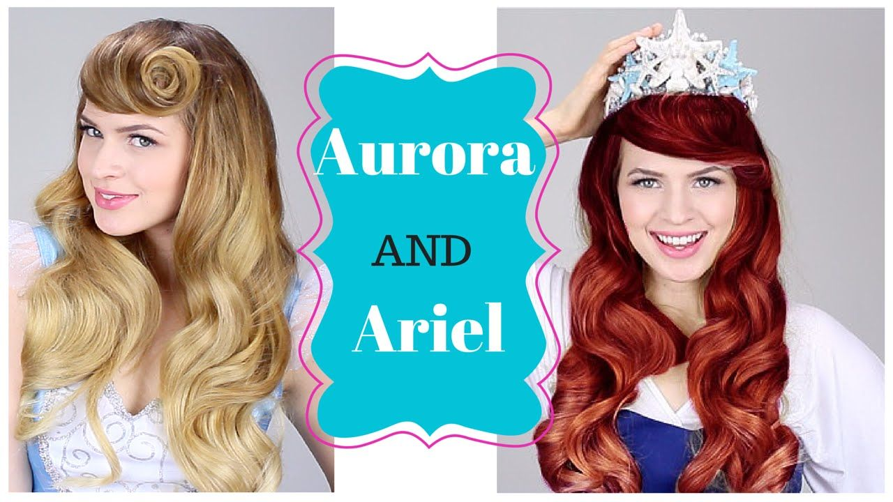 Disney Princesses Aurora And Ariel Hair Tutorial By Kayley Melissa Ariel Hair Disney Hair Disney Princess Hairstyles