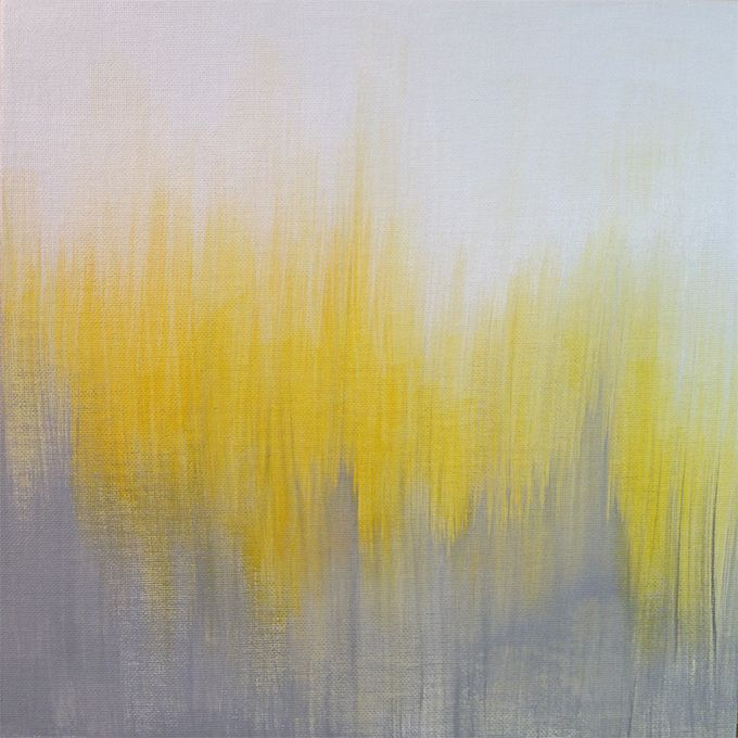 Yellow Gray And White Bedroom: Yellow And Gray Ikat Abstract Painting By Kirsten Gilmore