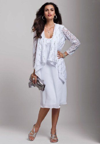 a07fa5ba46ab Roamans Plus Size Sequined Lace Empire Waist Jacket Dress (WHITE,18 W)  Roamans