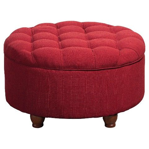 Tufted Round Cocktail Storage Ottoman - Red would reupholster ...