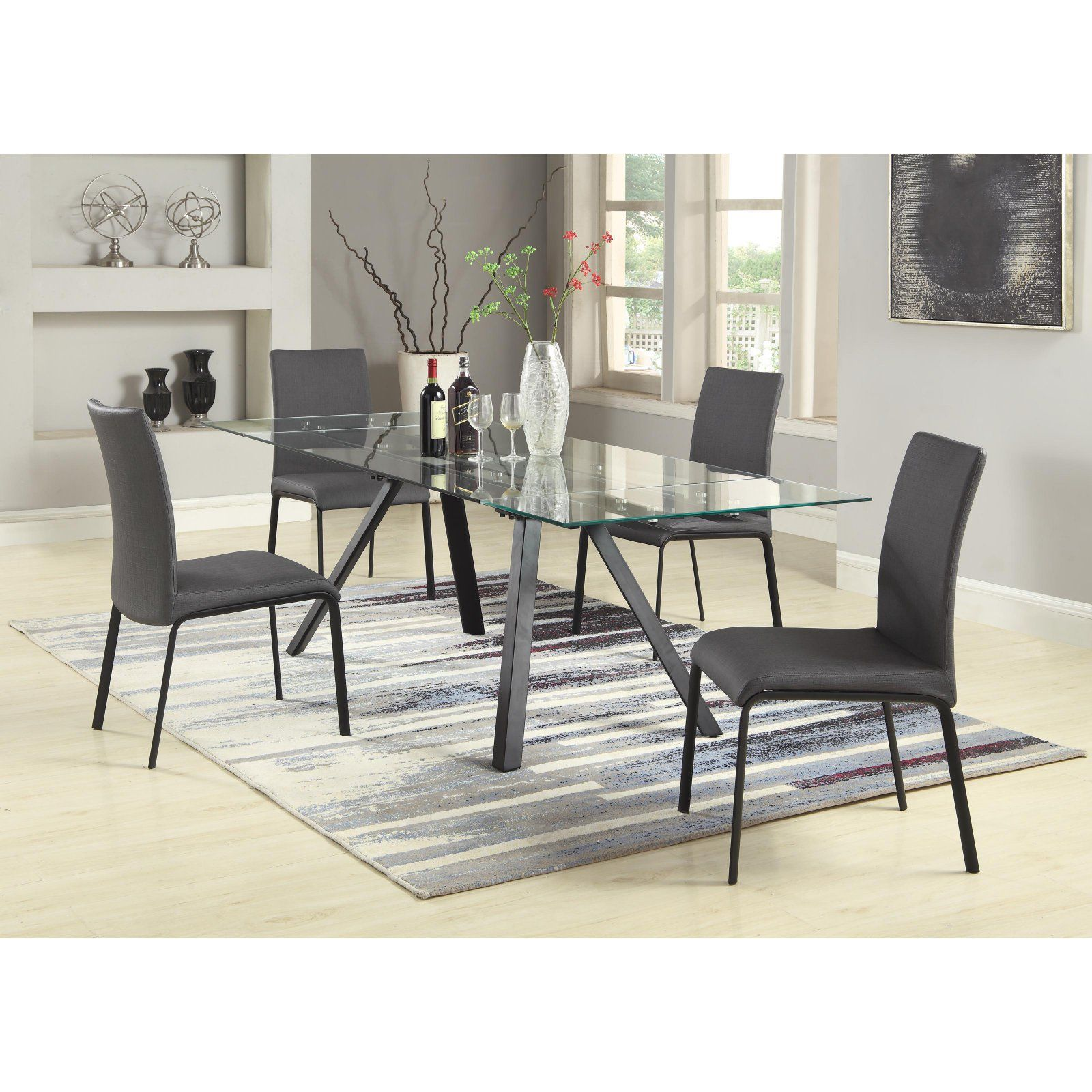 Chintaly Aida 5 Piece Dining Table Set Dining Table Black