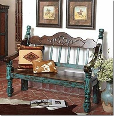 Beautiful Western Turquoise Bench From King Ranch Saddle Shop Stylish Western Home Decorating