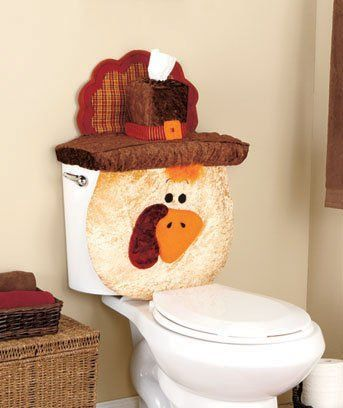 Thanksgiving Turkey Holiday Bathroom Toilet Tank Cover Set 31\