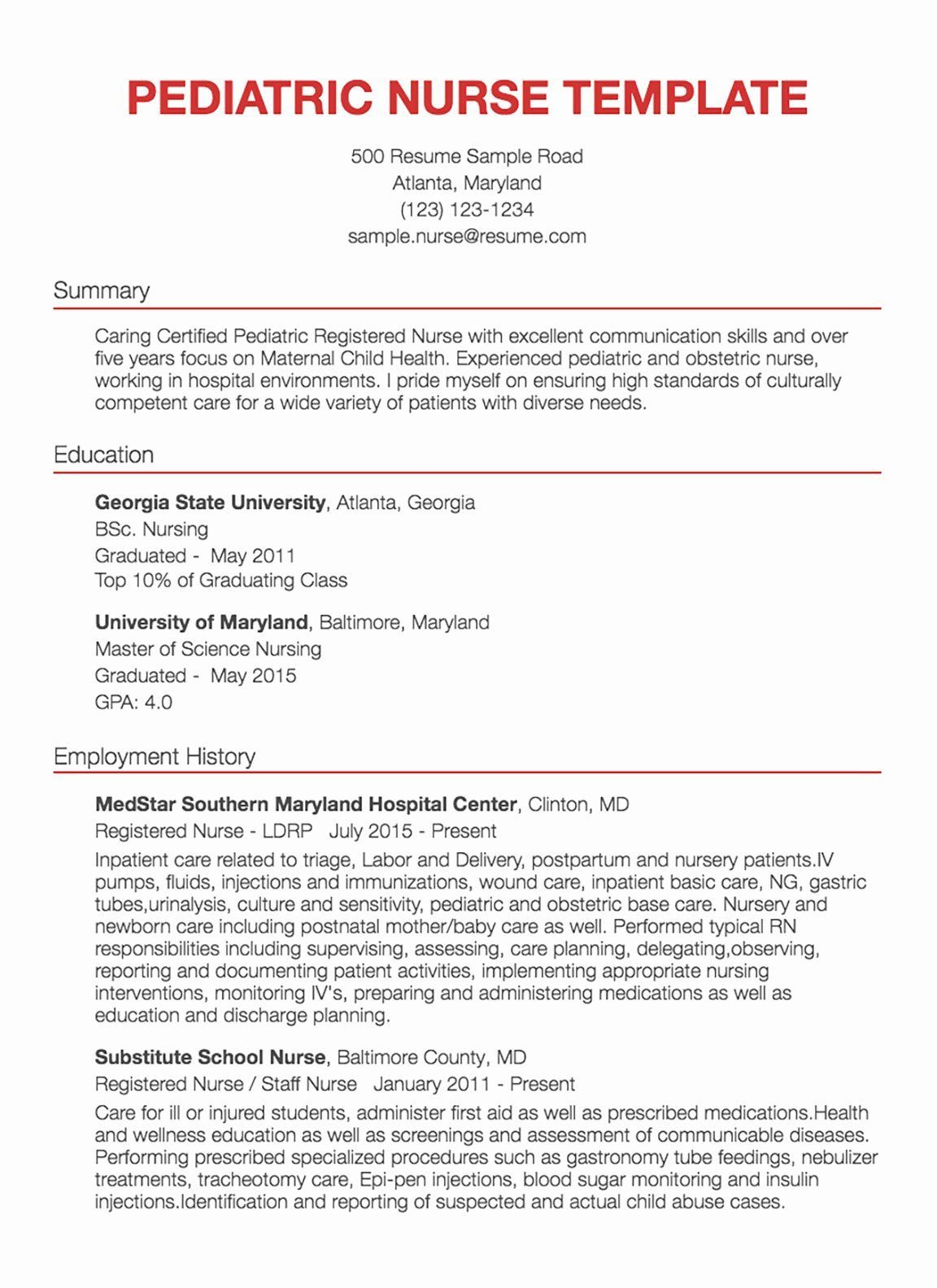 48+ Pediatric nurse resume skills inspirations