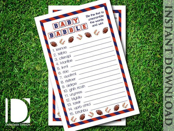 Baby Shower Word Scramble Game, Sports Theme,by DeReimer DeSign - create raffle tickets in word