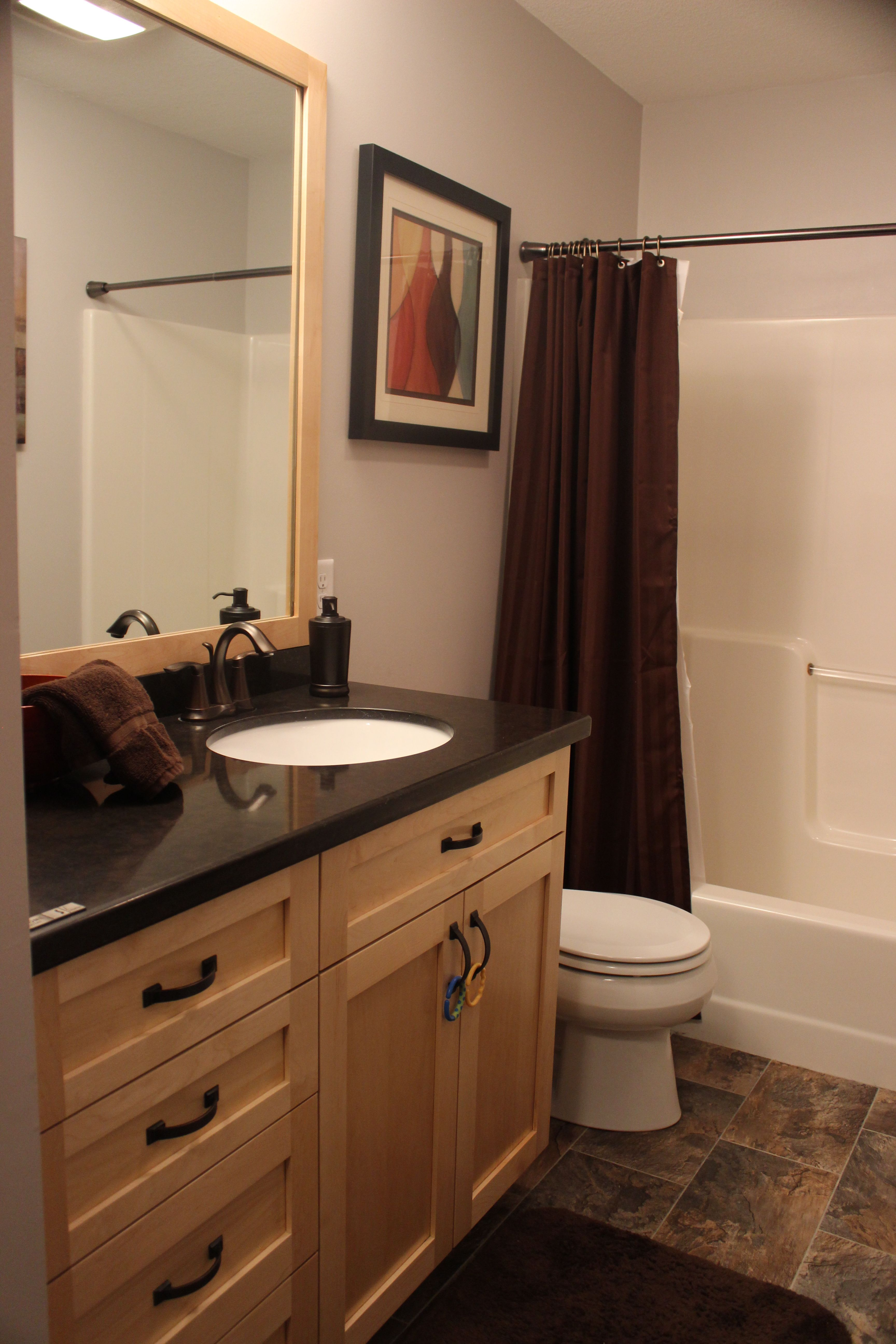 Full Bathroom-Quartz countertops, vinyl floors, maple ... on Bathroom Ideas With Maple Cabinets  id=30616