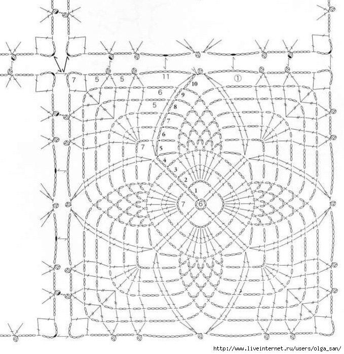 Square Pineapple Crochet Diagram Pineapple Square Motif