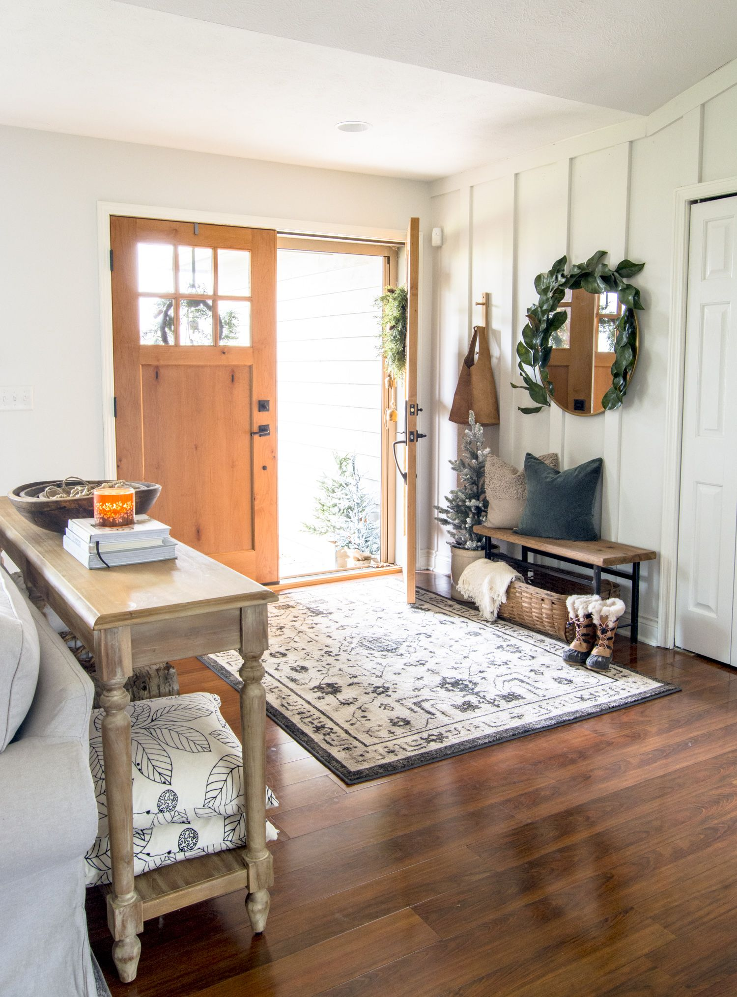 how to style a small foyer with a narrow entryway bench in on small entryway console table decor ideas make a statement with your home s entryway id=54028