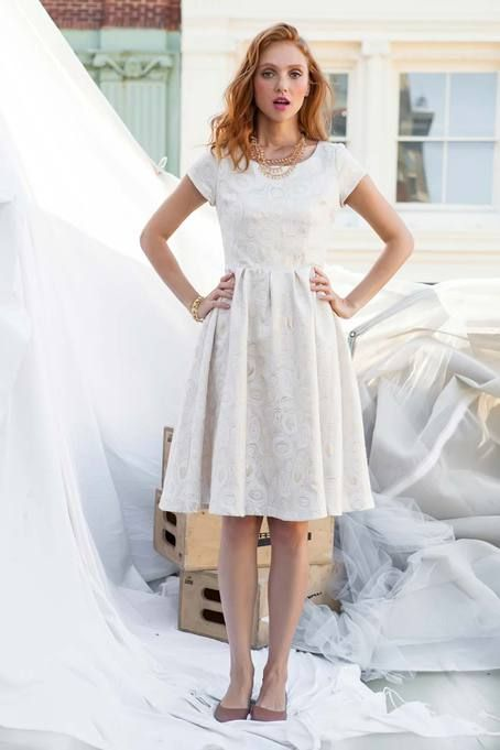 88400f6474 Shop for sophisticated gold and cream party dresses online at Shabby Apple!  Find vintage   retro inspired modest clothing   cute accessories for women  in a ...