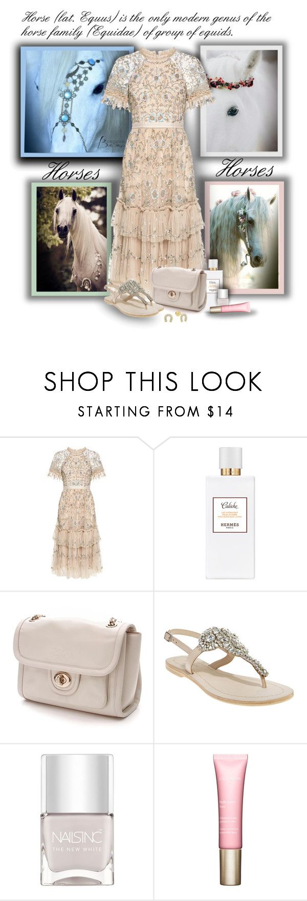 """""""Horses!!!"""" by sarahguo ❤ liked on Polyvore featuring Needle & Thread, Hermès, Coach, Antik Batik, Nails Inc. and Clarins"""