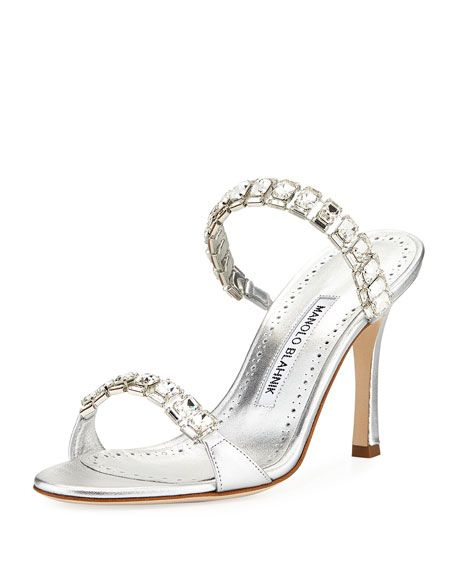 da1023323cba Evening Shoes at Bergdorf Goodman. Dallifac Metallic Leather Two-Band Slide  Sandal