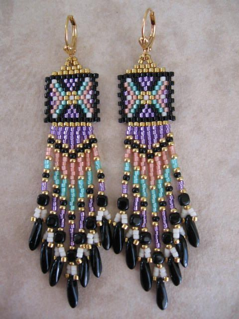 Native American Seed Bead Earrings Free Shipping By