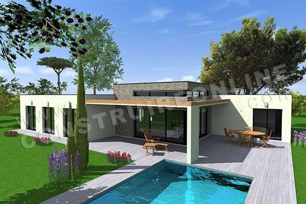 Plan de maison plain pied contemporaine addict 4 future maison en 2019 maison plain pied - Petite maison toit plat ...