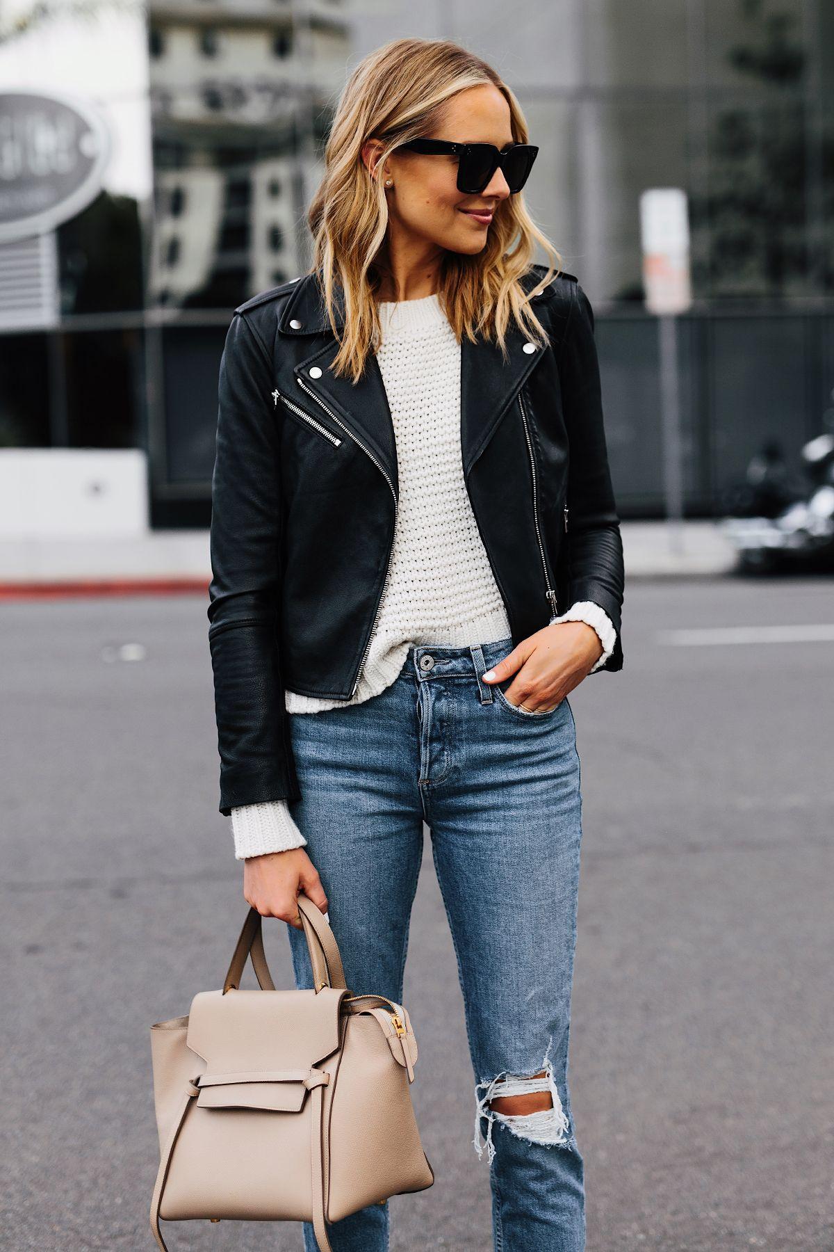deedd5c7c8b Blonde Woman Wearing Club Monaco Black Leather Jacket Ivory Chunky Sweater  Paige Ripped Jeans Celine Mini Belt Bag Fashion Jackson San Diego Fashion  Blogger ...