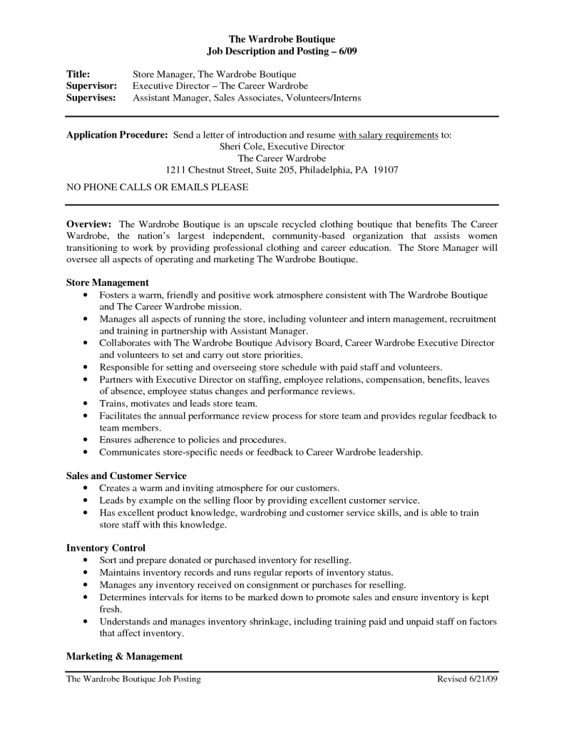 Clothing Retail Resume Template Sales Associate Job Description Cover Letter