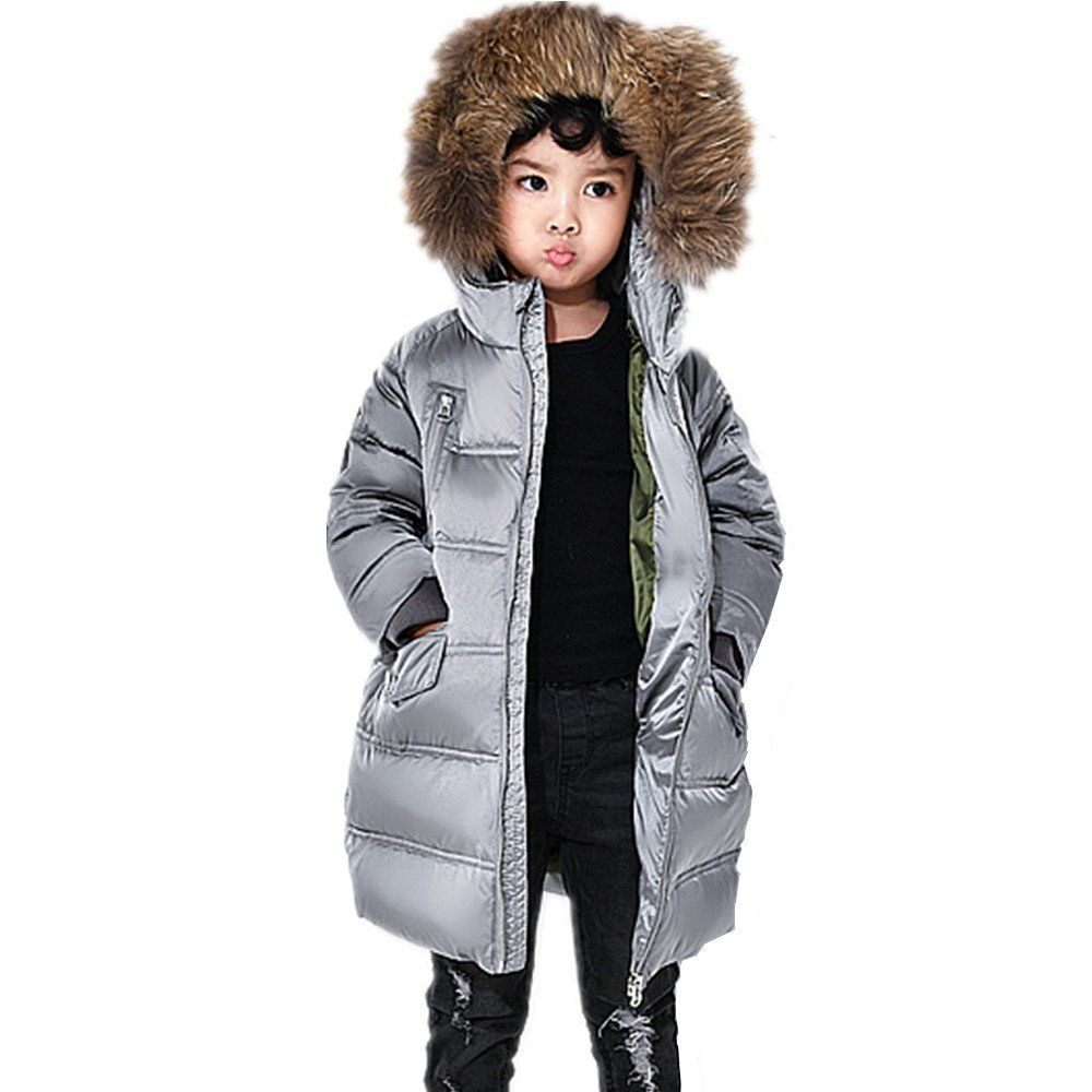 fe86de5a797c LJYH Kids Winter Mid-Length Hooded Puffer Jacket Big Boys Girls ...