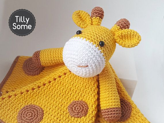 Crochet Pattern Giraffe Blanket : Cute Giraffe Lovey Pattern Security Blanket Crochet ...