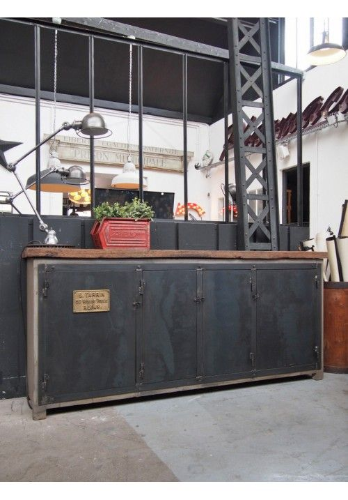 Enfilade Bois Et Metal Buffet Salle A Manger Buffet Industriel Mobilier De Salon