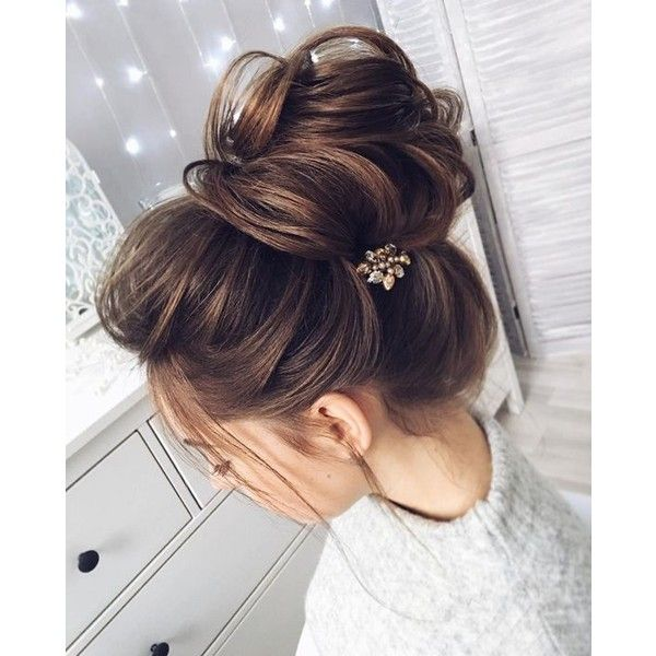 Chic Messy Bun For Straight Hair Liked On Polyvore Featuring Hair And Hair Styles Medium Hair Styles Long Hair Styles Hair Lengths