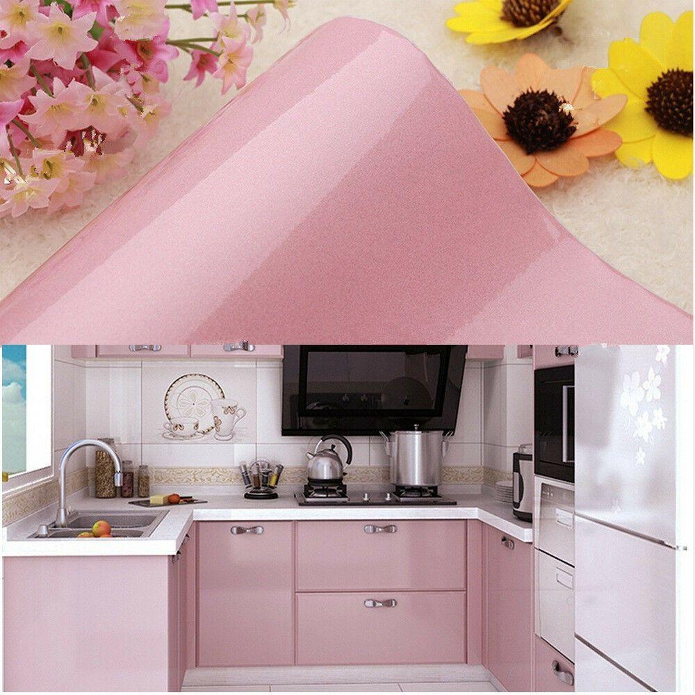 Pink Wallpaper Self Adhesive Kitchen Cupboard Door Cover ...