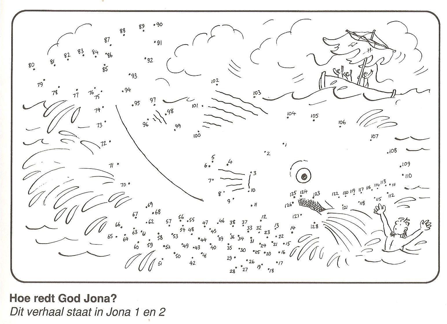 Jona 1 En 2 Hoe Redt God Jona Van Stip Naar Stip Kinderbibel Kinderkirche Jonas Und Der Wal