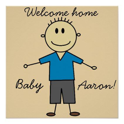Welcome home new baby boy name cute stick figure poster stick welcome home new baby boy name cute stick figure poster baby gifts child new born negle