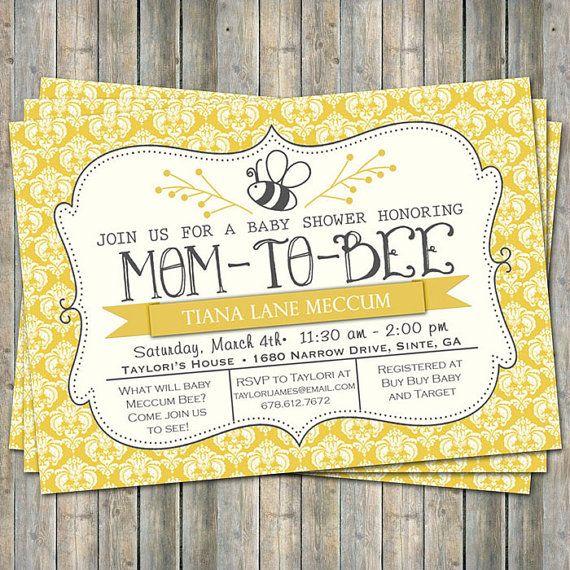 Mom To Bee Shower Invitation Yellow