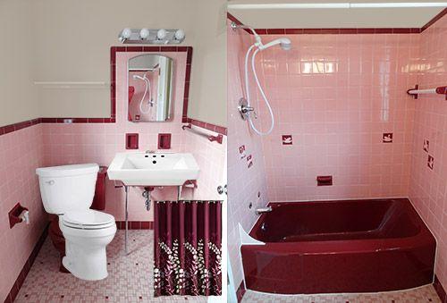 Jodi Saves Her 1949 Maroon And Pink Bathroom With Amazing Vintage Tile Pink Bathroom Vintage Bathrooms Maroon Bathroom