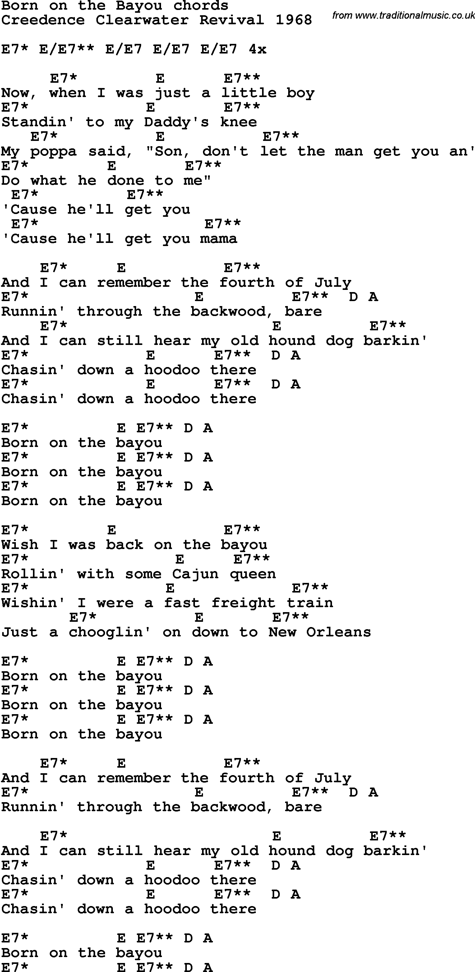 Song Lyrics With Guitar Chords For Born On The Bayou Guitar