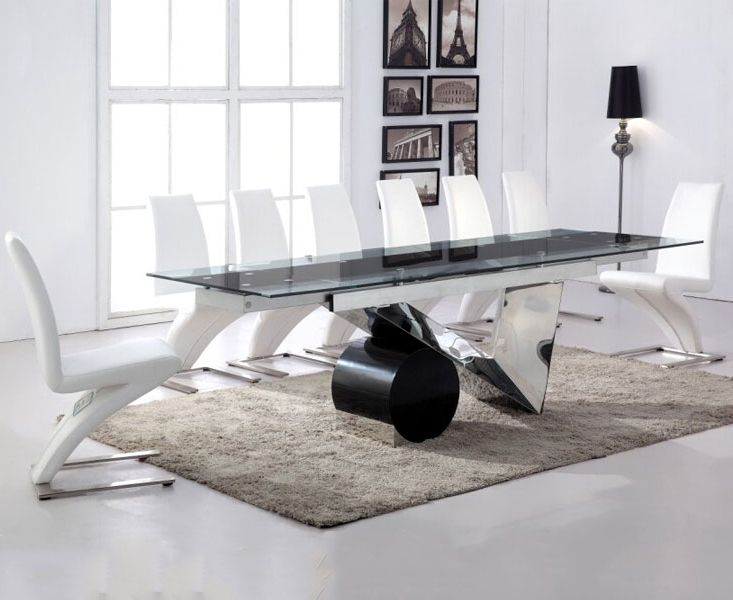 Buy The Pretoria 170cm Extending Black Glass Dining Table With