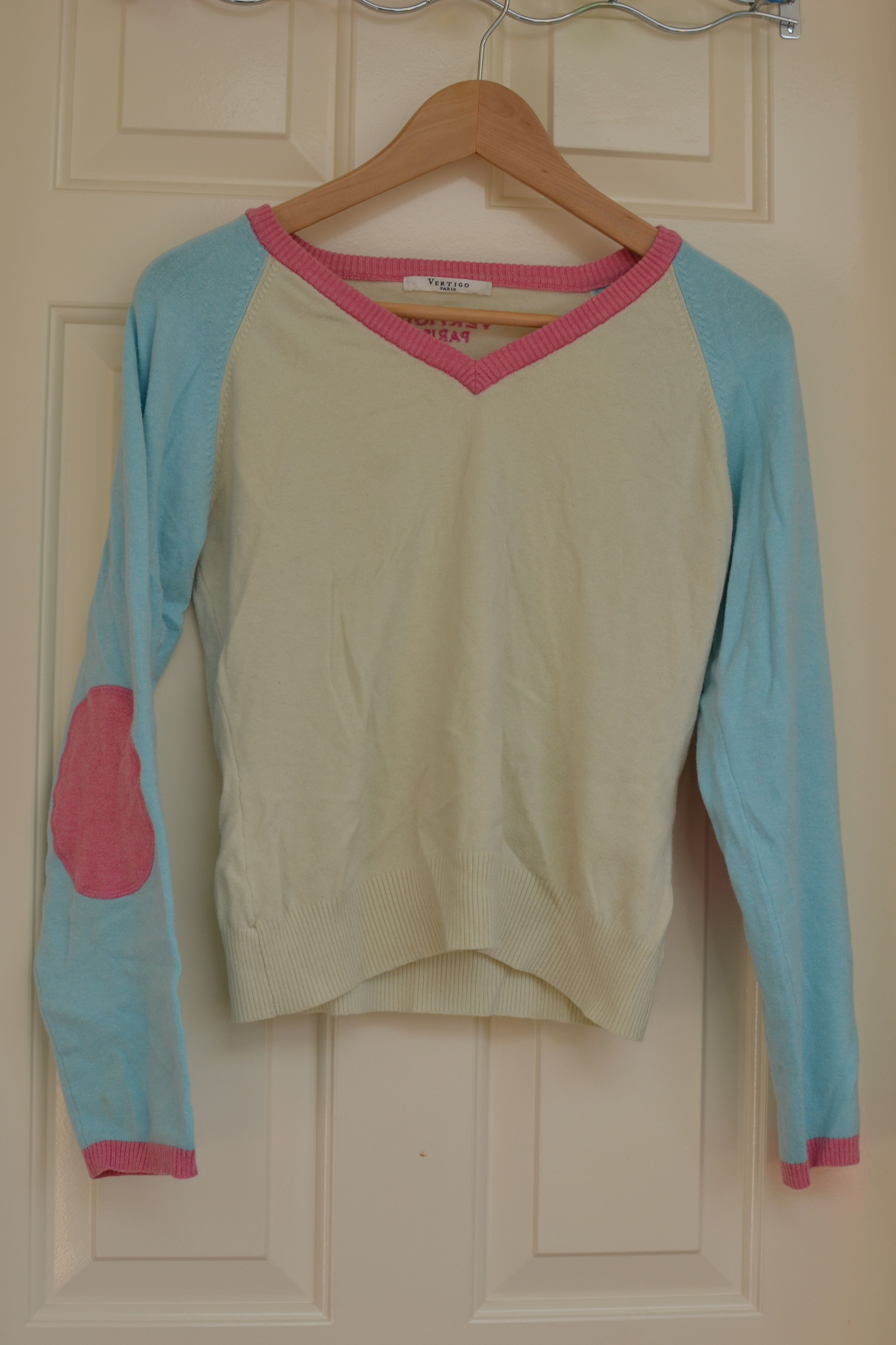 """Vertigo Paris elbow patch sweater. Pretty sure it's a medium. Measures approx 17"""" armpit to armpit. Could potentially use a light shave but not super pilly."""