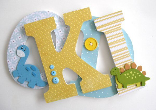 Light Blue and Yellow Wooden Letters | Wooden Letter Nursery Decor ...