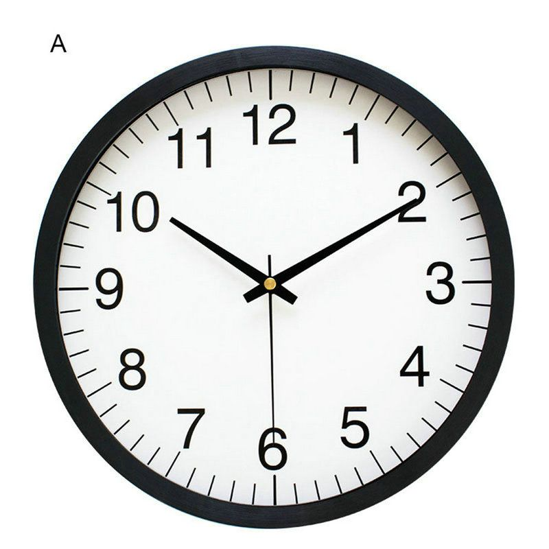 Simple Round Wall Clock Plastic Edge Non Ticking Wall Clock 10inch Wall Watch Clock Kitchen Wall Clocks