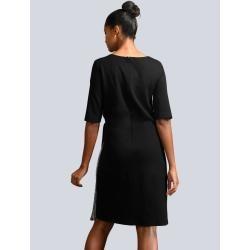 Alba Moda, vestido de vestir con aplicación plisada, negro Alba Moda